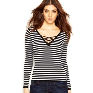 GUESS- Black Long Sleeve Striped Lace-Up Sweater